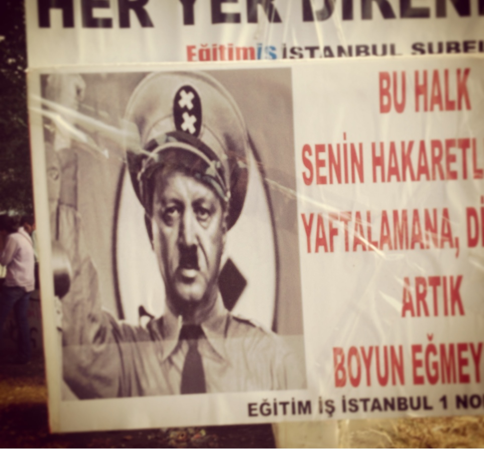 An anti-Erdogan flyer in Gezi PArk adjacent to Taksim Square.